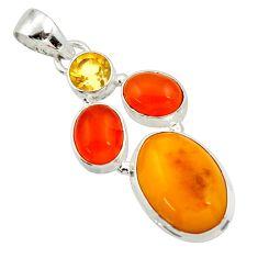 Clearance Sale- 13.77cts natural yellow amber bone cornelian (carnelian) silver pendant d43054