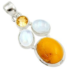 12.31cts natural yellow amber bone moonstone citrine 925 silver pendant d43041