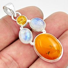Clearance Sale- 16.15cts natural yellow amber bone moonstone citrine 925 silver pendant d43100