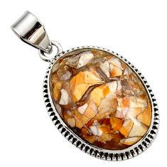 Natural yellow brecciated mookaite (australian jasper) 925 silver pendant r27791
