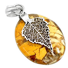 16.41cts natural yellow brecciated mookaite 925 silver leaf pendant r90867