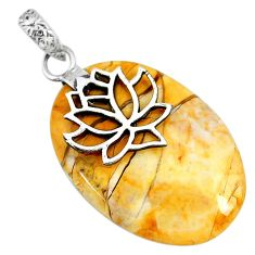 20.86cts natural yellow brecciated mookaite 925 silver pendant r90871