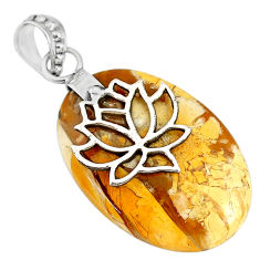 17.88cts natural yellow brecciated mookaite 925 silver pendant r90872