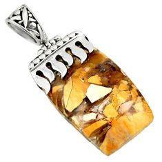 Natural yellow brecciated mookaite australian jasper 925 silver pendant r44344