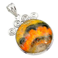 27.64cts natural yellow bumble bee australian jasper 925 silver pendant r30518