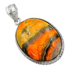 23.84cts natural yellow bumble bee australian jasper 925 silver pendant r32010