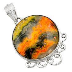 22.07cts natural yellow bumble bee australian jasper 925 silver pendant r32013