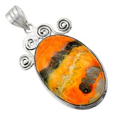 25.57cts natural yellow bumble bee australian jasper 925 silver pendant r32014