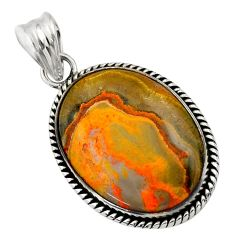 22.05cts natural yellow bumble bee australian jasper 925 silver pendant r32016