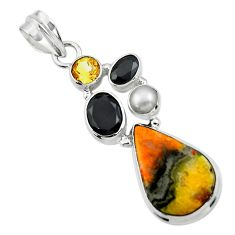 14.31cts natural yellow bumble bee australian jasper 925 silver pendant r44528