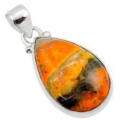 13.15cts natural yellow bumble bee australian jasper 925 silver pendant r46501