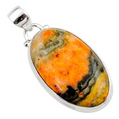 16.85cts natural yellow bumble bee australian jasper 925 silver pendant r46502