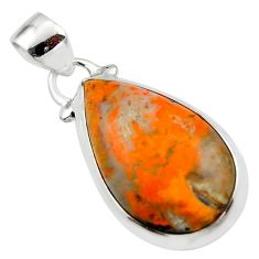 11.33cts natural yellow bumble bee australian jasper 925 silver pendant r46509