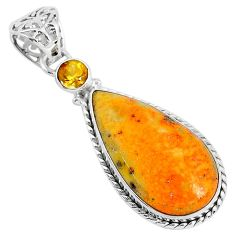 16.20cts natural yellow bumble bee australian jasper 925 silver pendant r94202