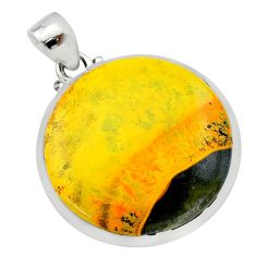 20.51cts natural yellow bumble bee australian jasper 925 silver pendant t22581