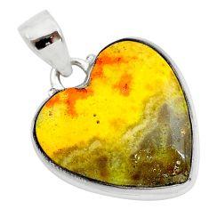 15.58cts heart yellow bumble bee australian jasper 925 silver pendant t23022