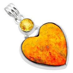 16.20cts heart yellow bumble bee australian jasper 925 silver pendant t23116