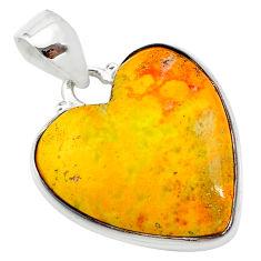 17.22cts heart yellow bumble bee australian jasper heart silver pendant t23027