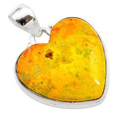 17.73cts heart yellow bumble bee australian jasper heart silver pendant t23029