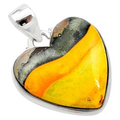 15.65cts heart yellow bumble bee australian jasper heart silver pendant t23031
