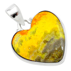 15.02cts heart yellow bumble bee australian jasper heart silver pendant t23032
