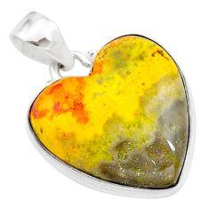 18.15cts heart yellow bumble bee australian jasper heart silver pendant t23033