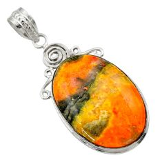 20.88cts natural yellow bumble bee australian jasper oval silver pendant r29353