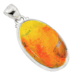 16.28cts natural yellow bumble bee australian jasper oval silver pendant t22568