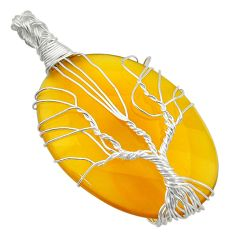 33.21cts natural yellow chalcedony 925 silver tree of life pendant d47601