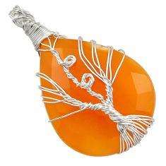 31.96cts natural yellow chalcedony 925 silver tree of life pendant d47603
