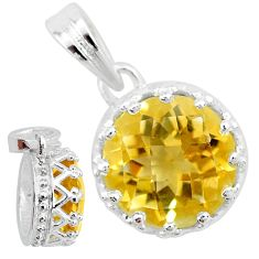 4.71cts natural yellow citrine 925 sterling silver crown pendant t7841