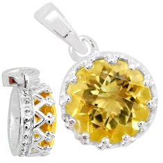 5.11cts natural yellow citrine 925 sterling silver crown pendant t7861