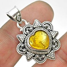 4.82cts natural yellow citrine 925 sterling silver heart pendant jewelry t56069
