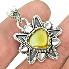 5.58cts natural yellow citrine 925 sterling silver heart pendant jewelry t56087