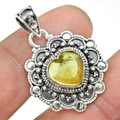 4.93cts natural yellow citrine 925 sterling silver heart pendant jewelry t56118