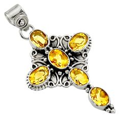 9.04cts natural yellow citrine 925 sterling silver holy cross pendant d44761