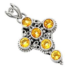 5.38cts natural yellow citrine 925 sterling silver holy cross pendant d44774