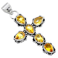 9.96cts natural yellow citrine 925 sterling silver holy cross pendant r55816