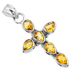 6.74cts natural yellow citrine 925 sterling silver holy cross pendant r55894