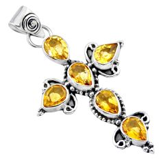 6.58cts natural yellow citrine 925 sterling silver holy cross pendant r55895
