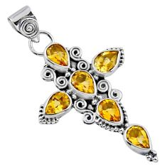 6.31cts natural yellow citrine 925 sterling silver holy cross pendant r55930