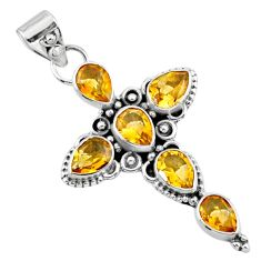 6.30cts natural yellow citrine 925 sterling silver holy cross pendant r55962