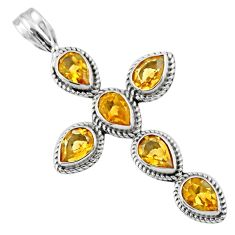 6.56cts natural yellow citrine 925 sterling silver holy cross pendant r55970