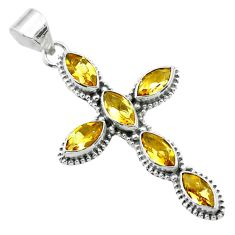 9.86cts natural yellow citrine 925 sterling silver holy cross pendant t52941