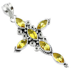 9.11cts natural yellow citrine 925 sterling silver holy cross pendant t52942