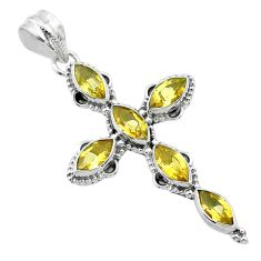 9.86cts natural yellow citrine 925 sterling silver holy cross pendant t52943