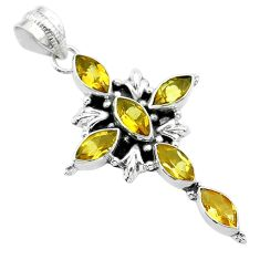 8.66cts natural yellow citrine 925 sterling silver holy cross pendant t52945