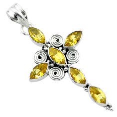 9.16cts natural yellow citrine 925 sterling silver holy cross pendant t52947