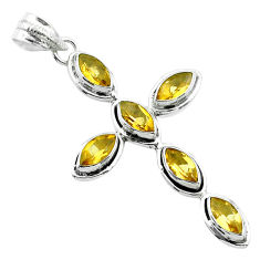 10.24cts natural yellow citrine 925 sterling silver holy cross pendant t52949