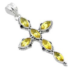 9.74cts natural yellow citrine 925 sterling silver holy cross pendant t52951
